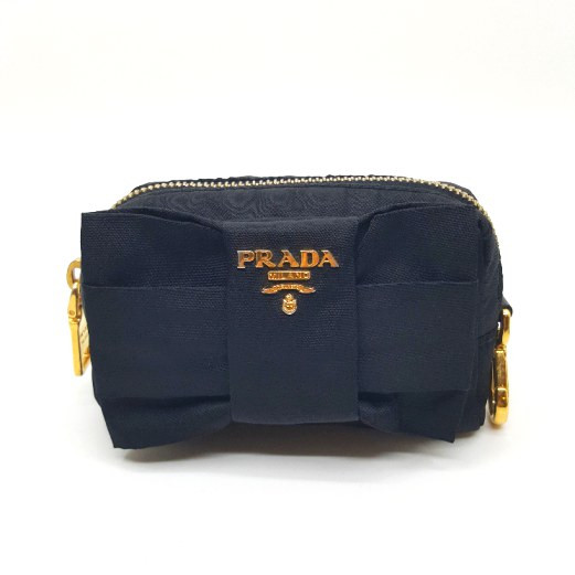 Prada-Nylon Small Bow Zip Pouch