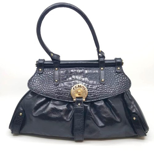 Fendi-Croc Print Flap Magic Bag-8BN144
